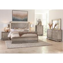 Sophia Platinum Queen Bedroom Set: Includes Queen Bed, Nightstand, Dresser and Mirror