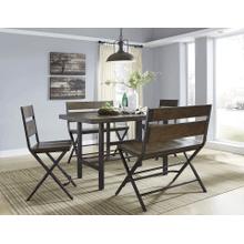 Kavara - Medium Brown - 5 Pc. - Rectangular Counter Table, 2 Barstools & 2 Double Barstools