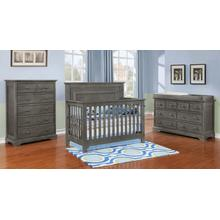 Waterford Flat Panel 4 in 1 Conversion Crib Weathered Grey Finish