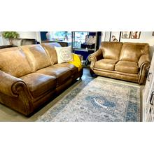 See Details - Italian Leather Sofa & Loveseat in Vintage Tobacco