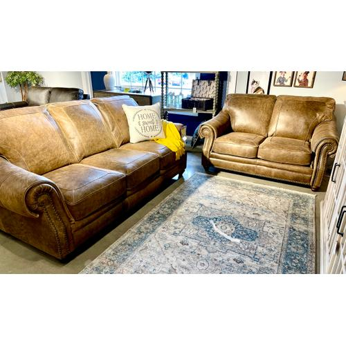 Soft Line - Italian Leather Sofa & Loveseat in Vintage Tobacco