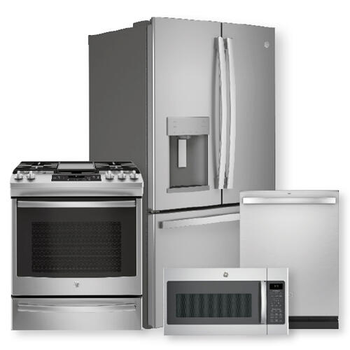 Packages - 27.7 Cu. Ft. Fingerprint Resistant French-Door Refrigerator & Slide-In Front-Control Convection Gas Range Package