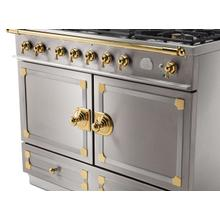 CornuFe 110 Dual Fuel Range -  Stainless Steel with Stainless Steel and Polished Brass Trim
