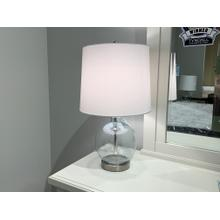 Glass and Brushed Nickel Spherical Lamp with White Shade
