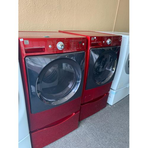 Product Image - Refurbished Red Electric Kenmore Washer Dryer Set on Pedestals. Please call store if you would like additional pictures. This set carries our 6 month warranty, MANUFACTURER WARRANTY AND REBATES ARE NOT VALID (Sold only as a set)