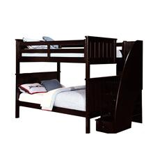 Belfort Full over Full Bunk Bed with Staircase - Espresso