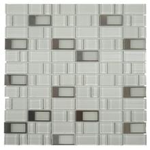 BLKT10 Blends Glass Mosaic - Super White with Stainless Buckles