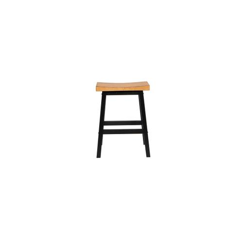 "24""H Saddle Stool, Almond/Ebony"
