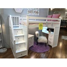 NE KIds Staircase Loft Bed with Desk End White Finish