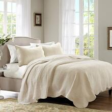 King/Cal King Tuscany 3 Piece Reversible Scalloped Edge Coverlet Set - Cream
