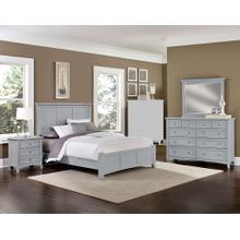 See Details - King Gray 4 PC Bedroom Set - Panel Bed