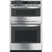 """View Product - GE 4.3CF Oven and 1.7CF Microwave 27"""" Stainless Steel Microwave Wall Oven Combination with Steam/Self Clean"""