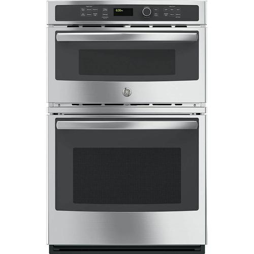 """GE 4.3CF Oven and 1.7CF Microwave 27"""" Stainless Steel Microwave Wall Oven Combination with Steam/Self Clean"""
