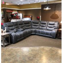 6PC LAY FLAT POWER  RECLINING SECTIONAL in Steel WITH STORAGE CONSOLE, ARM CUP HOLDERS - USB      (WARE-264ST)
