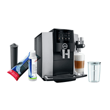 Jura S8 Automatic Coffee Machine Moonlight Silver Set with Smart Water Filter, Milk System Cleaner and Milk Container