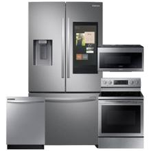 See Details - SAMSUNG 26.5 cu. ft. 3-Door French Door Refrigerator with Family Hub 4 Pc Package- Open Box