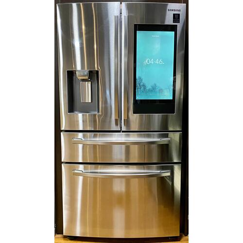 """Samsung RF22R7551SR  22 cu. ft. 4-Door French Door, Counter Depth Refrigerator with 21.5"""" Touch Screen Family Hub™ in Stainless Steel"""
