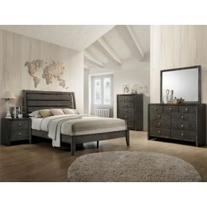 CrownMark 4 Pc Queen Bedroom Set, Gray Evan B4720