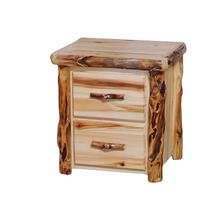 2 Drawer Nightstand Flat Front Wild Panel Gnarly Log