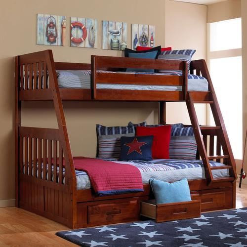 Twin Over Full Bunk Bed with 3 Drawers - Merlot