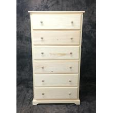 Maine Made Traditional 6 Drawer Chest 30W X 57H X 18D Pine Unfinished