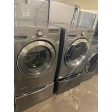 Refurbished Grey Electric LG Washer Dryer Set on pedestals. Please call store if you would like additional pictures. This set carries our 6 month warranty, MANUFACTURER WARRANTY AND REBATES ARE NOT VALID (Sold only as a set)