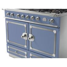 See Details - CornuFe 110 Induction Range - Provence Blue with Stainless Steel and Satin Chrome Trim