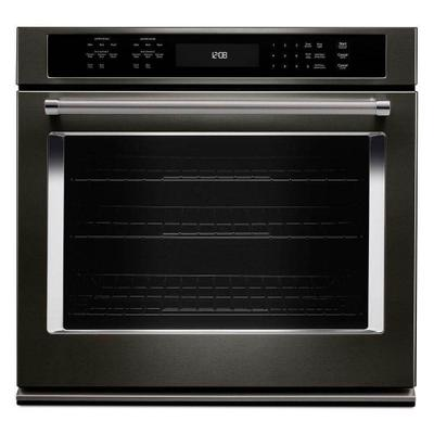 """Kitchenaid 5.0CF Black Stainless 30"""" Single Convection Wall Oven with Self Clean Product Image"""