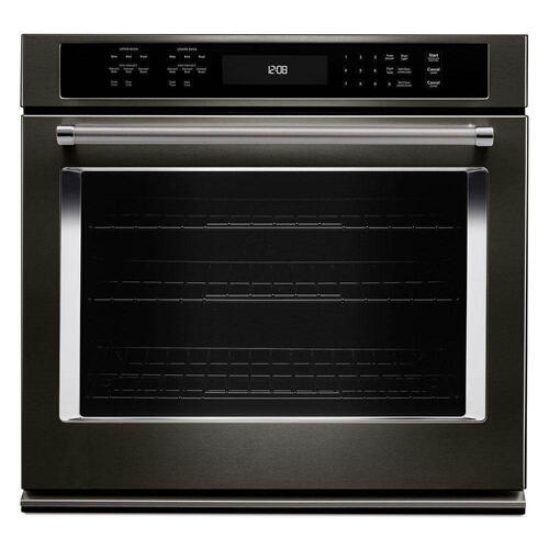 "Kitchenaid 5.0CF Black Stainless 30"" Single Convection Wall Oven with Self Clean"