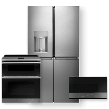 "CAFE 27.4 Cu. Ft. Smart Quad-Door Refrigerator & 30"" Smart Slide-In, Convection Double-Oven Range 3 Piece Package"
