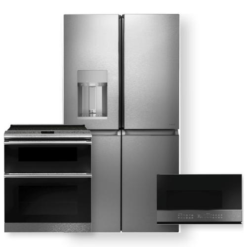 "CAFE 27.4 Cu. Ft. Smart Quad-Door Refrigerator & 30"" Smart Slide-In, Convection Double-Oven Range 3 Piece Package"