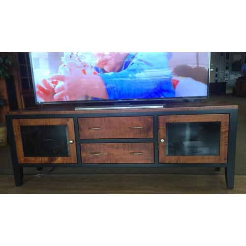 """AMISH MADE CUSTOM CRAFTED 72"""" WIDE 2 TONE CONSOLE TIGER MAPLE/BLACK"""