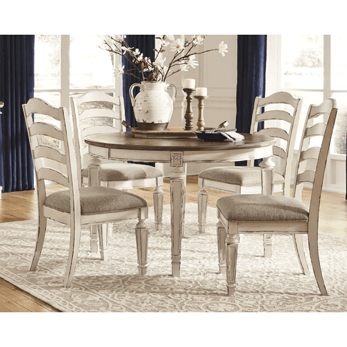 Realyn - Chipped White - 5 Pc. - Oval Extension Table & 4 Upholstered Side Chairs