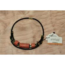 Ethnic necklace with coral ceramic