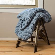 See Details - Chunky Knit Throw - Blue