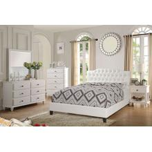 Queen White Leatherette Tufted Bed