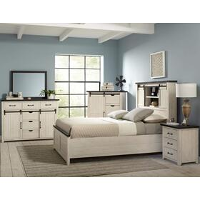 Madison County 5 PC King Barn Door Bedroom: Bed, Dresser, Mirror, Nightstand, Chest - Vintage White