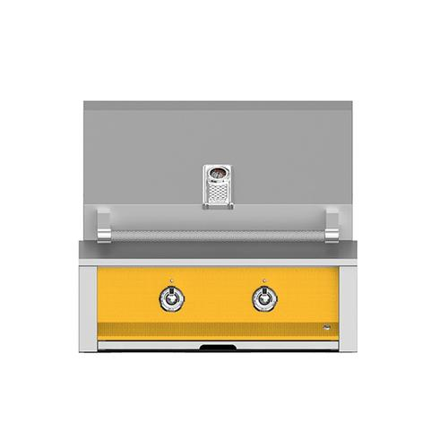 """Aspire By Hestan 30"""" Built-In U-Burner and Sear Grill NG Yellow"""