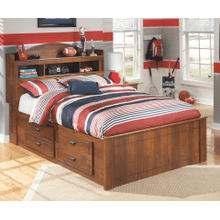 Barchan- Medium Brown- Full Bookcase Bed with Under Bed Storage