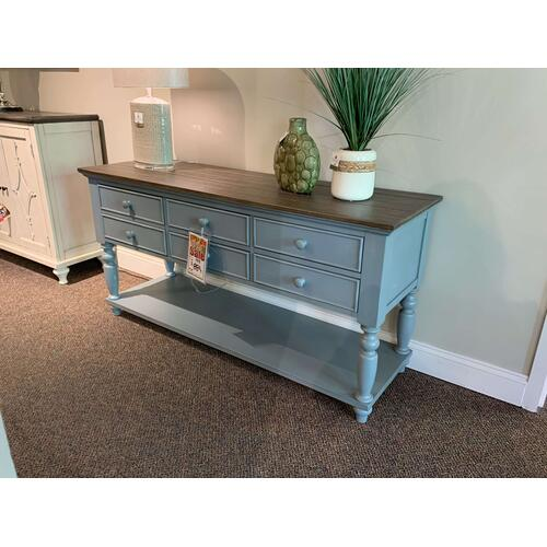 Blue Decorative Table with Drawers