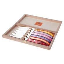 Claude Dozorme Berlingot Stainless Steel 6-Piece Steak Knife Set with Fuego Mix Colours Handle