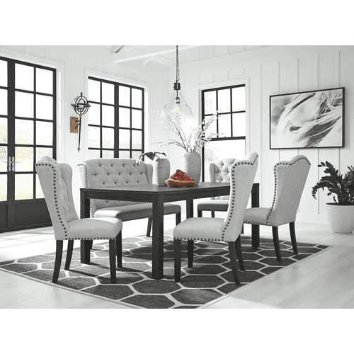 Jeanette - Black - 6 Pc. - RectangularTable, 4 Upholstered Side Chairs & Upholstered Bench