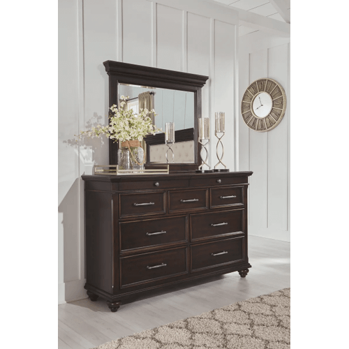 Brynhurst - Dark Brown - 7 Pc. - Dresser, Mirror, Chest, Nightstand & King Upholstered Bed