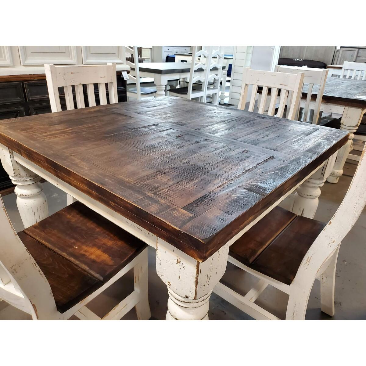 """See Details - 48"""" White Distressed Counter Height Table"""