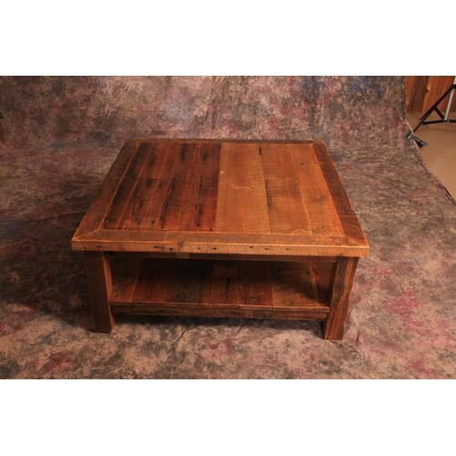 Cozy Creations Collection - Reclaimed Barnwood Coffee Table With Shelf