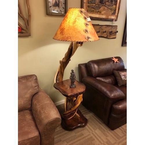 Juniper and walnut floor lamp.