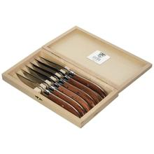 Claude Dozorme Laguiole Shiny Stainless Steel 6-Piece Steak Knife Set with Bee Exotic Wood Handle