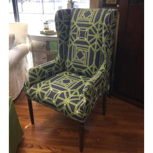Navy and Green Wing Chair