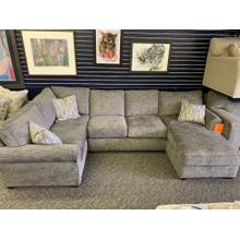 460:Handwoven Pewter Sectional W/storage