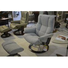 STRESSLESS MAYFAIR LARGE ARM CHAIR, CLOTH, RECLINE, SWIVEL, ERGONOMICALLY CORRECT, W/OTTOMAN.